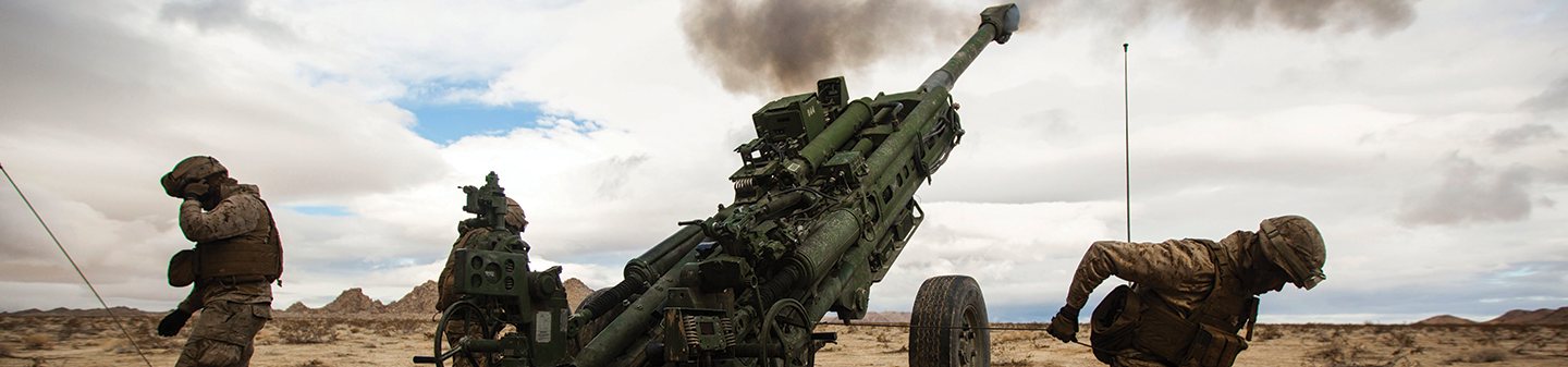 U.S. Marines fire the M777-A2 Howitzer down-range during Integrated Training Exercises at Twentynine Palms, California.
